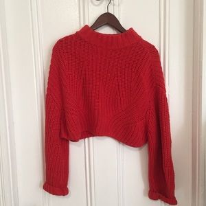 H&M Red Turtleneck Cropped Sweater